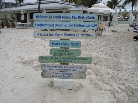 key west beach sign